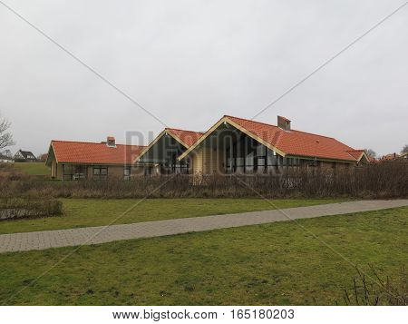 Holiday Cottages on Flensburg Fjord on cold winters day
