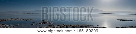 Panoramic view on Dead Sea at sunrise. Israel