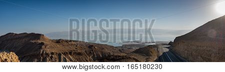 Panoramic view on Dead Sea from road 31. Israel