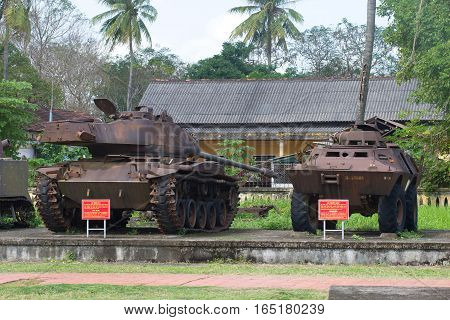 HUE, VIETNAM - JANUARY 08, 2016: The American M-41 tank and the armored personnel carrier.  Historical landmark