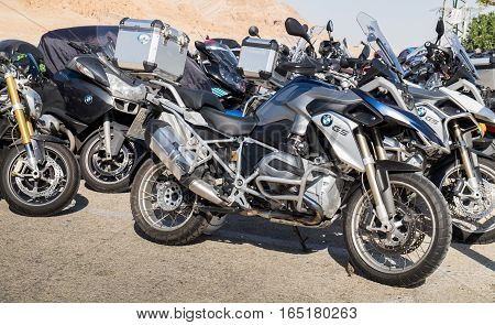 QUMRAN ISRAEL - JANUARY 06 2017: Lot of BMW motorcycle parked outside