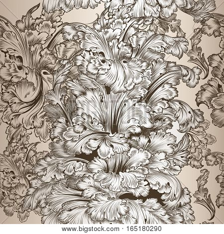Beautiful print with hand drawn engraved ornament