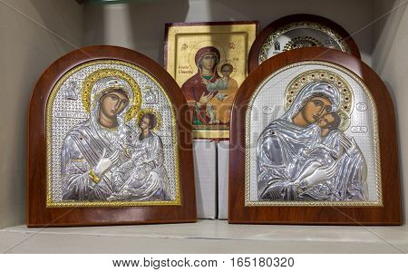 Icons Of The Mother Of God In The Souvenir Shop In Israel