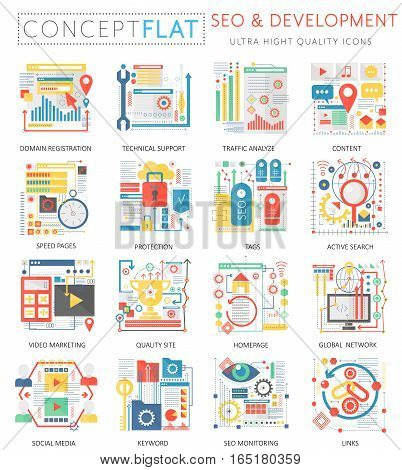 Infographics mini concept SEO and development icons for web. Premium quality color conceptual flat design web graphics icons elements. Medicine health concepts