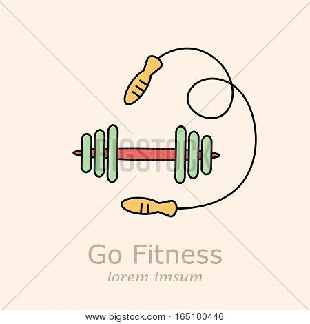 Skipping rope and dumbbells vector. Thin line illustration