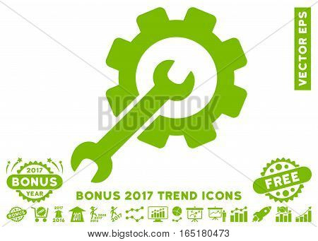 Eco Green Setup Tools pictograph with bonus 2017 year trend design elements. Vector illustration style is flat iconic symbols white background.