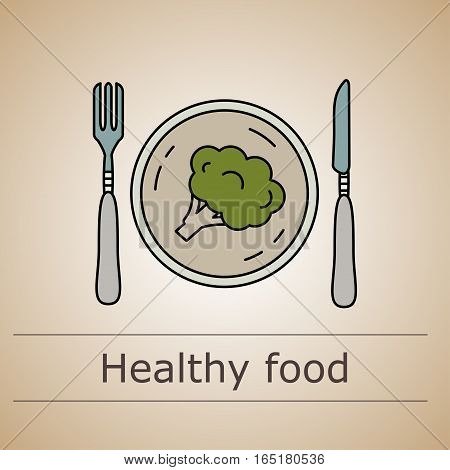 Thin line vector illustration with the fork and knife with plate and broccoli.