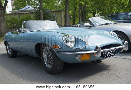 TURKU, FINLAND - JUNE 13, 2015: Jaguar E Roadster (OTS) Series 2 at the show-the parade of sports cars in Turku