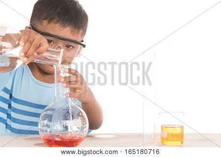 science education concept asian kids and science experiments