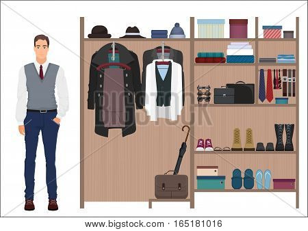 Stylish man and man s wardrobe. Vector Men's dressing room design. Clothes and shoes on hangers