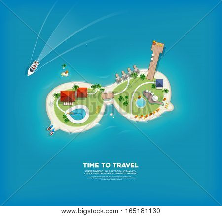 Top view of the island in the form of a sunglasses. Time to travel and vacations poster. Holiday trip. Travel and tourism.