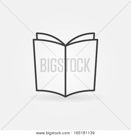Book outline vector icon or logo element in thin line style
