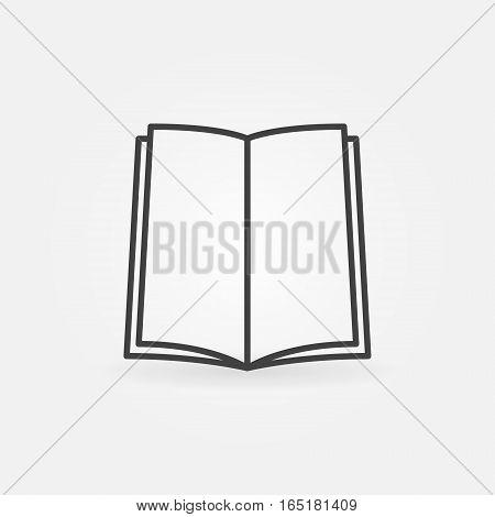 Open book line icon. Vector thin line education concept symbol or logo element
