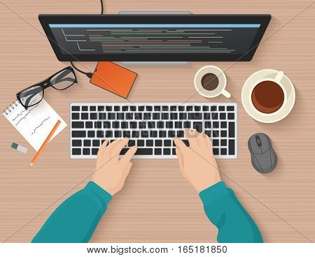 Developer working at computer. Programmer hands coding. Programming flat illustration concept. Vector top view