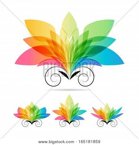 Set art color flowers on white background