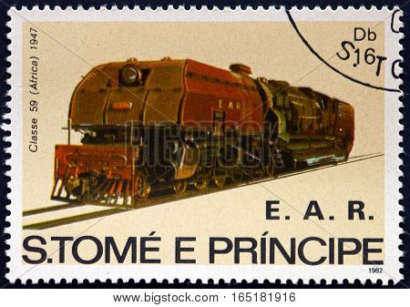 SAO TOME AND PRINIPE - CIRCA 1982: a stamp printed in Sao Tome and Principe shows Locomotive Class 59 Africa circa 1982