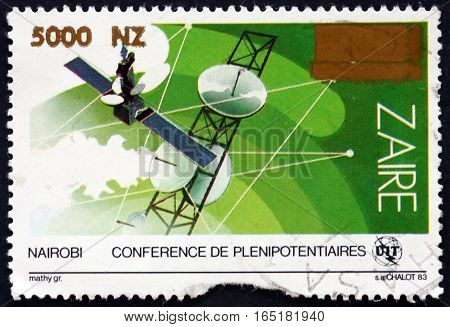 ZAIRE - CIRCA 1996: a stamp printed in the Zaire shows Satellite Dish Antenna and Map Plenipotentiaries Conference Nairobi circa 1996