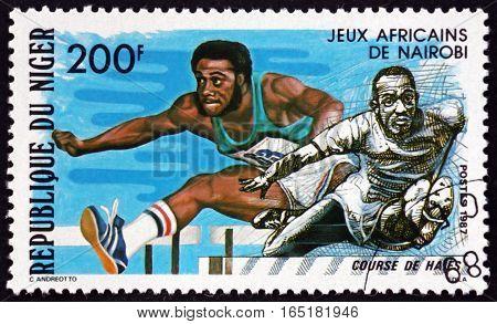 NIGER - CIRCA 1977: a stamp printed in Niger shows Hurdles African Games Nairobi circa 1977