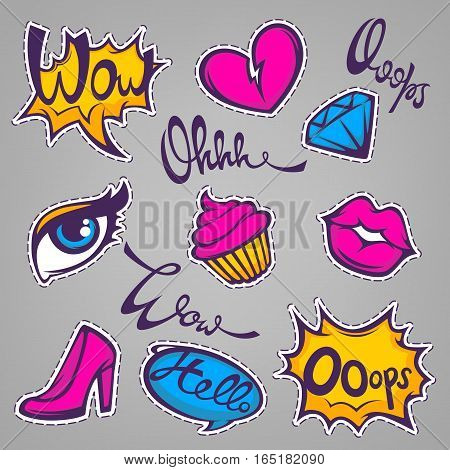 vector collection of fashionable patch badges with lips hearts speech bubbles