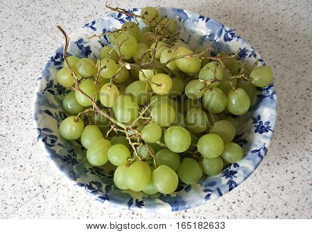 Fresh Green Grapes in a Blue Bowl on a Kitchen Countertop