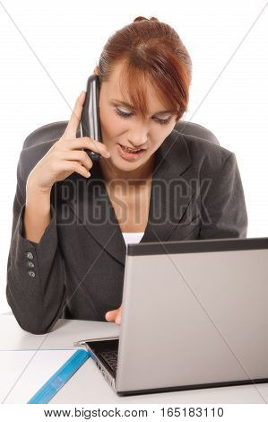 Business woman talking on telephone. Busieness concept