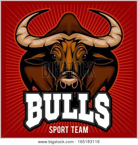Bulls Head Mascot - Sport team - Vector Illustration