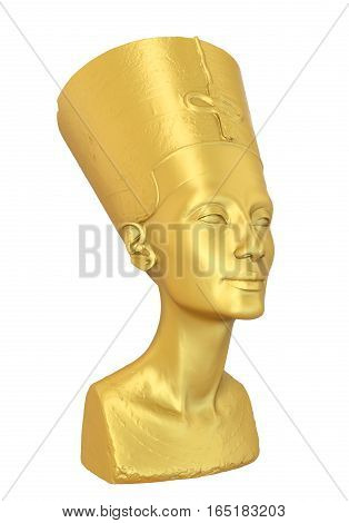 Bust of Queen Nefertiti isolated on white background. 3D render