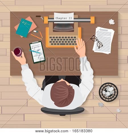 Writer's workplace. Top view of man writer working on typewriter in the home or office. Writer typewriter top concept