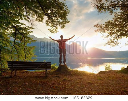 Happy Man With Rised Arms In Red T-shirt Stand On Tree Stump