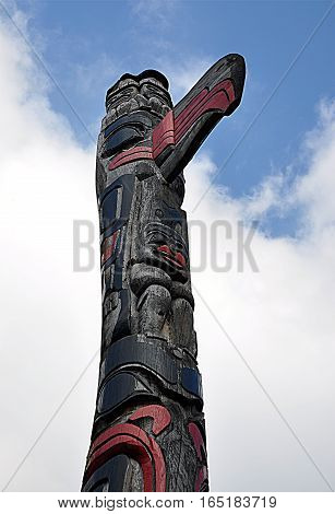 view of a wooden Indian religious tall totem day