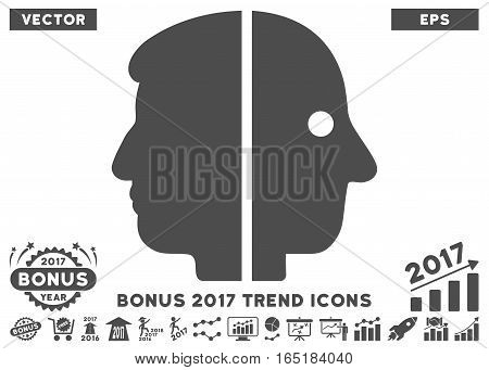 Gray Dual Face icon with bonus 2017 trend symbols. Vector illustration style is flat iconic symbols white background.