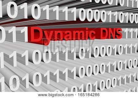 Dynamic DNS in the form of binary code, 3D illustration
