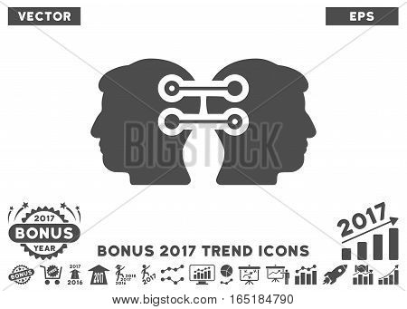 Gray Dual Heads Interface Connection pictograph with bonus 2017 year trend pictures. Vector illustration style is flat iconic symbols white background.