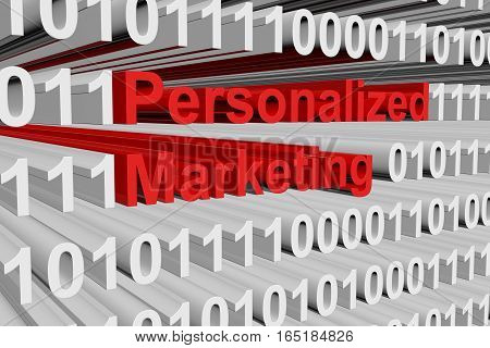 personalized marketing in the form of binary code, 3D illustration