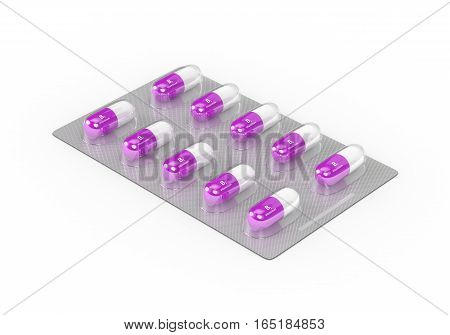 3D Rendering Of B1 Vitamin Pills In Blister Pack