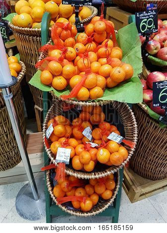 BANGKOK THAILAND - NOVEMBER 30 : fresh organic vegetables and fruits for sale on stand or basket in Tops Supermarket on November 30 2016 in BANGKOK Thailand.
