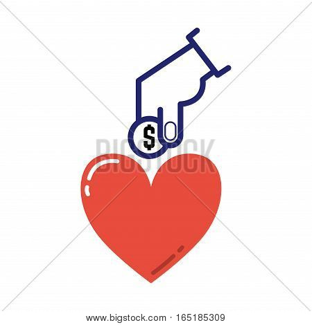 Money icons charity donation vector. Humanitarian awareness hand hope aid support and assistance care service human hand symbol. Trust social rescue helping.