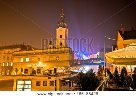 Zagreb Upper Town Church Advent Evening View