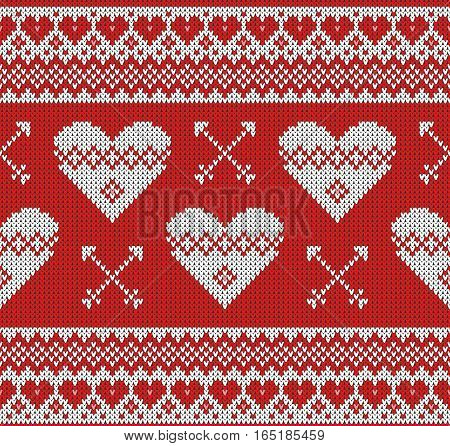 Seamless pattern on the theme of holiday Valentine's Day with an image of the Norwegian and fairisle patterns. White hearts and arrows on a red background. Wool knitted texture. Vector Illustration