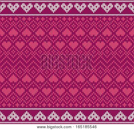 Seamless pattern on the theme of holiday Valentine's Day with an image of the Norwegian and fairisle patterns. Red hearts on a pink background. Wool knitted texture. Vector Illustration