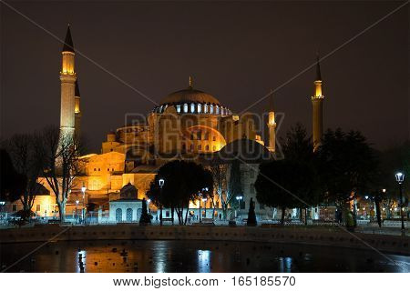 View of the mosque Aja-Sofya at January night. Istanbul, Turkey