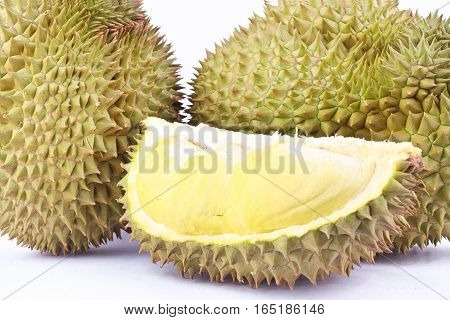 durian  mon thong is king of fruits durian on white background healthy yellow  durian fruit food isolated close up