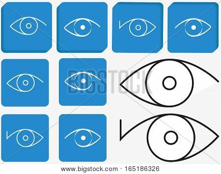 Eyes on blue. Icons. Vector image. Character set for web design.