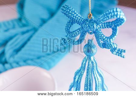 Beautiful teal blue zoomed-in holiday glitter ornament