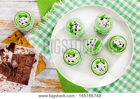 Portions Of Mint Cheesecake Mousse Dessert