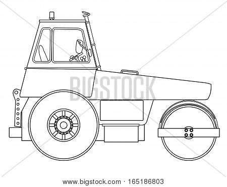 A modern diesel engine road roller over a white background