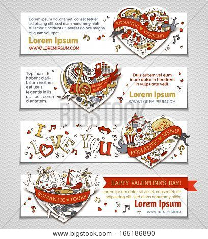Vector Set Of Horizontal Romantic Banners With Hearts.