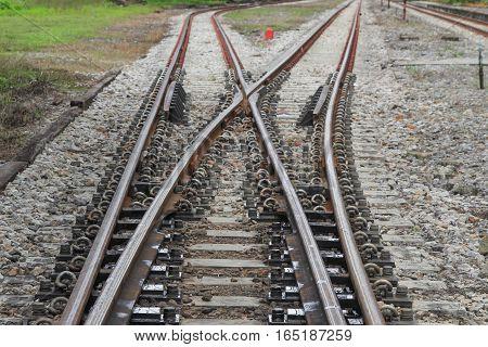 railway track on gravel for train transportation .