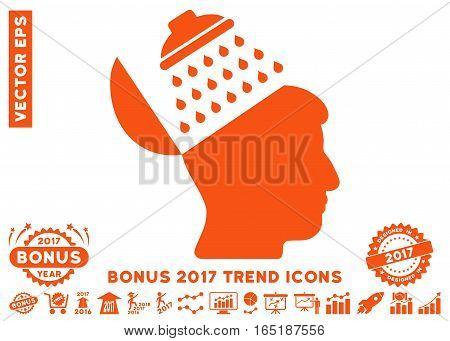Orange Propaganda Brain Shower pictograph with bonus 2017 year trend pictograms. Vector illustration style is flat iconic symbols white background. poster