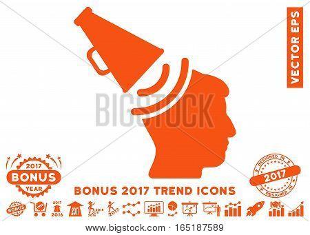 Orange Propaganda Megaphone icon with bonus 2017 year trend clip art. Vector illustration style is flat iconic symbols white background. poster